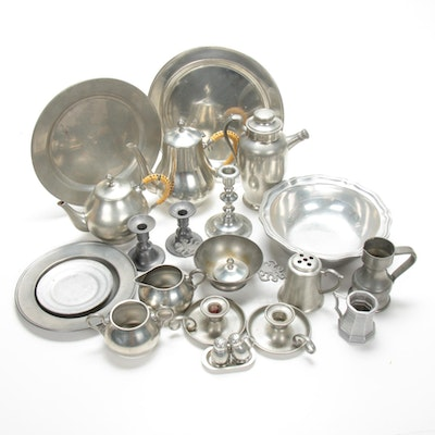 Wilton Bowl, Stieff Candlestick, and Other Pewter Table Accessories