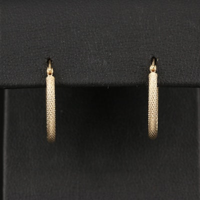 14K Textured Oval Hoop Earrings