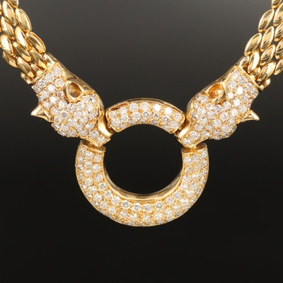 18K 5.15 CTW Diamond Panther Head Necklace