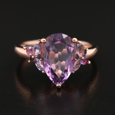 Sterling Silver Amethyst, Tanzanite and Iolite Teardrop Ring