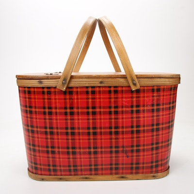 Wood and Treated Paper Picnic Basket with Tartan Plaid Decor, Mid 20th Century