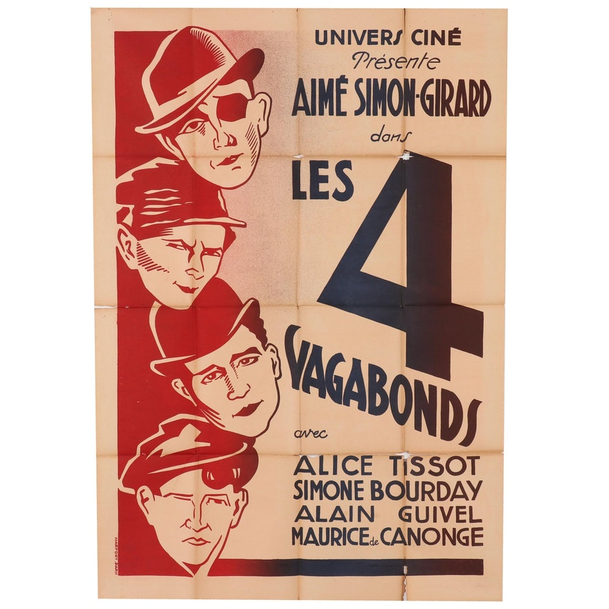 "Lithograph Movie Poster for ""Les Quatre Vagabonds"", Circa 1931"