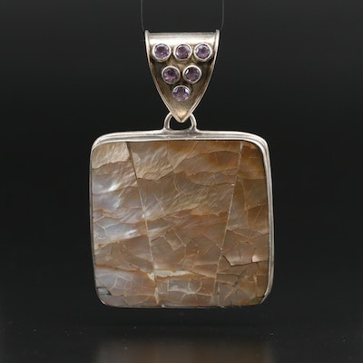 Sterling Silver Square Mother of Pearl Pendant with Amethyst Accents
