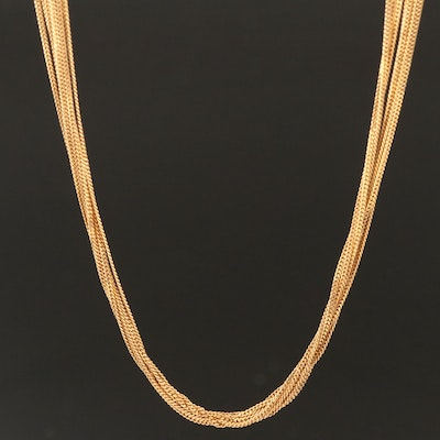 18K Multi-Strand Curb Chain Necklace