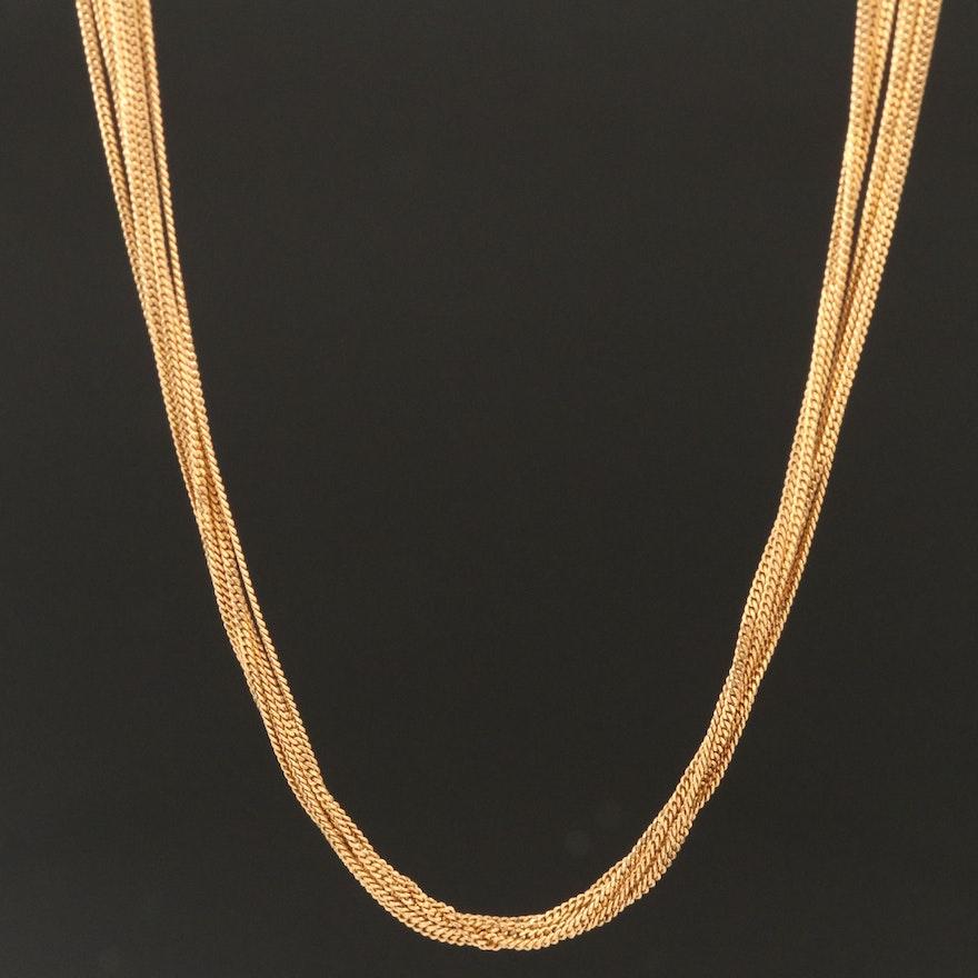 18K Multi-Strand Curb Chain Necklace