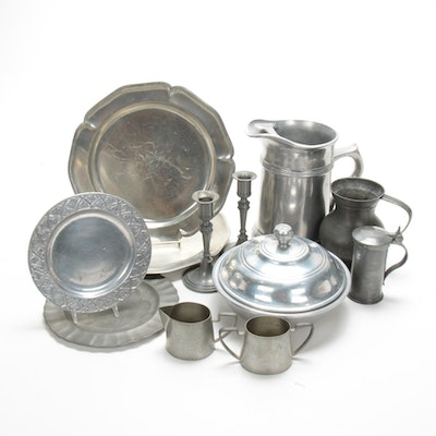 Wilton Pitcher and Lidded Bowl and Other Pewter Serveware