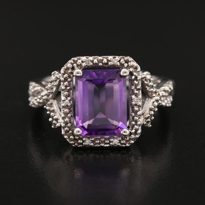 Sterling Rectangular Faceted Amethyst and Diamond Ring with Twist Band