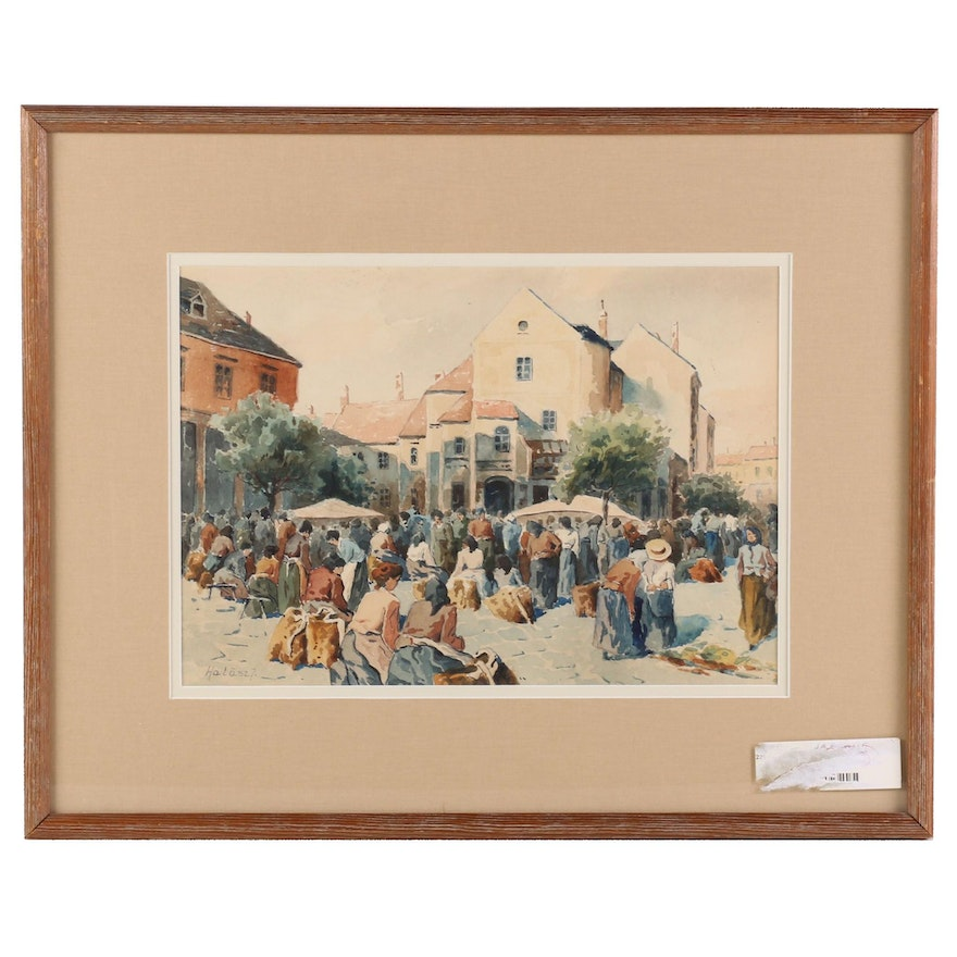 Watercolor Painting of City Square Street Scene