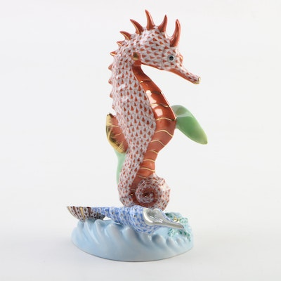 "Herend Guild Limited Edition Rust Fishnet ""Seahorse"" Porcelain Figurine, 2010"