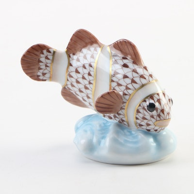"Herend Guild Chocolate Fishnet with Gold ""Clown Fish"" Porcelain Figurine, 2010"