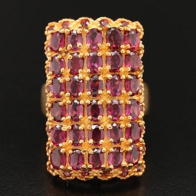 Sterling Silver Garnet Rectangular Cluster Ring