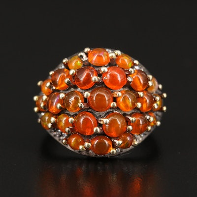 Sterling Silver Fire Opal and Cubic Zirconia Ring