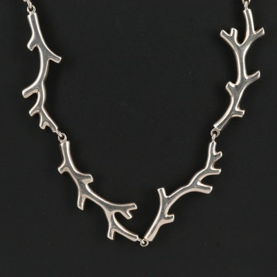 Tiffany & Co. Sterling Branch Motif Link Necklace