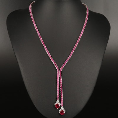 14K and 18K Ruby and Diamond Lariat Necklace with 2.70 CTW Center Stones