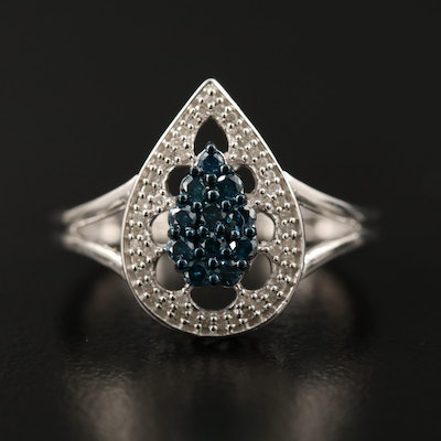Sterling Silver Diamond Teardrop Cluster Ring