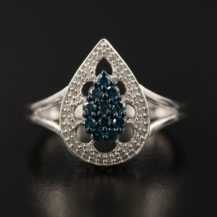 Sterling Silver Diamond Teardrop Cluster Ring