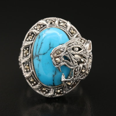 Sterling Silver Tiger Motif Ring Featuring Faux Turquoise and Marcasites