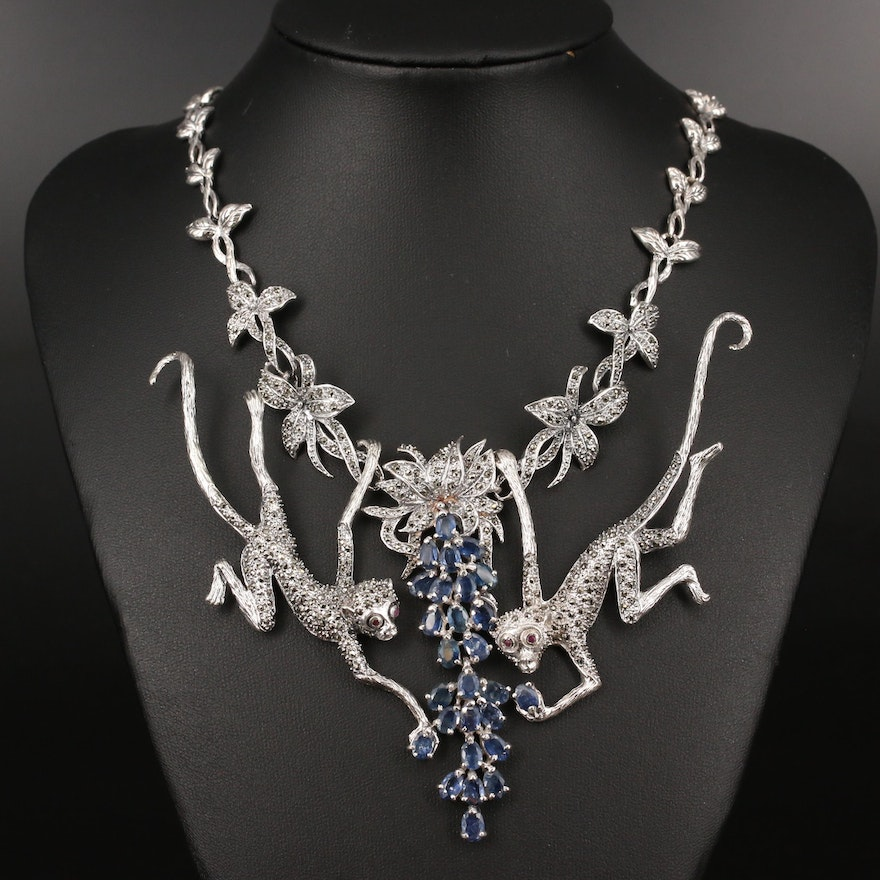 Sterling Sapphire, Marcasite and Ruby Swinging Monkey Necklace