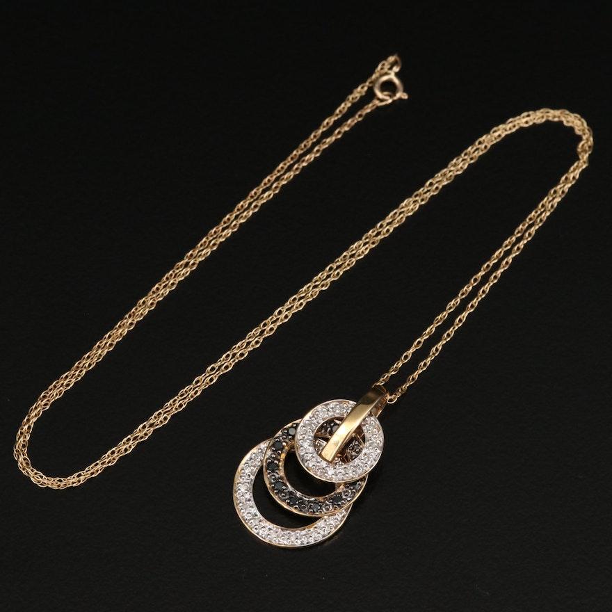 14K Diamond Graduated Circle Necklace with Black Diamonds