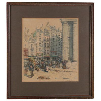 Color Stipple Lithograph of City Scene