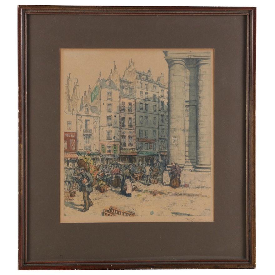 Color Stipple Lithograph of City Scene