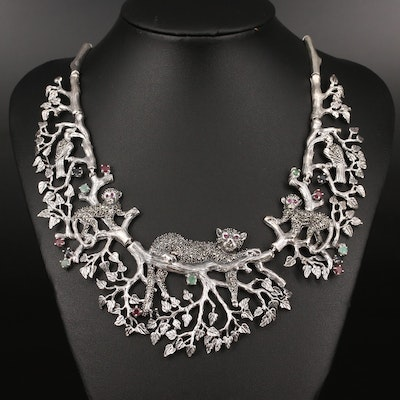 Sterling Silver Ruby, Sapphire and Emerald Lounging Feline Bib Necklace