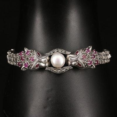 Sterling Silver Button Pearl and Gemstone Double Feline Head Bracelet