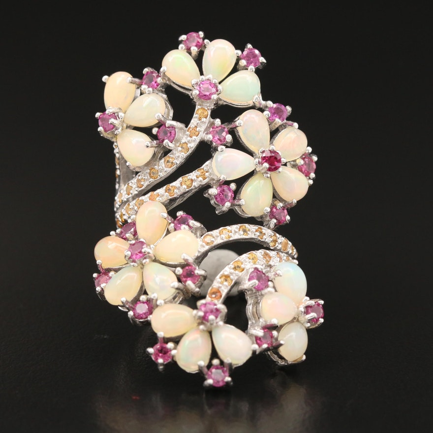 Sterling Opal, Rhodolite Garnet and Sapphire Bypass Floral Motif Ring
