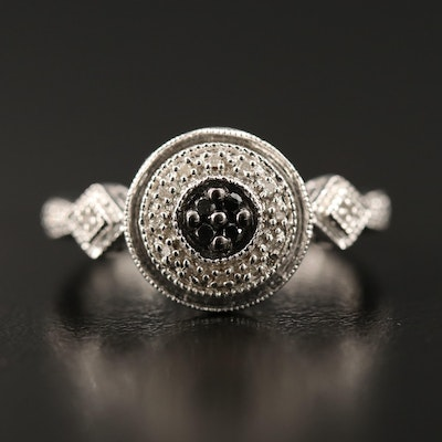 Sterling Silver Diamond Ring Featuring Black Diamonds