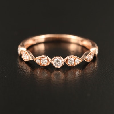 14K Rose Gold Diamond Infinity Motif Band