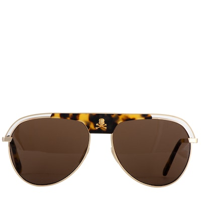 Philipp Plein Charlie Basic Gold Tone and Brown Sunglasses with Case