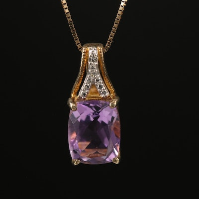 Sterling Amethyst and Diamond Pendant on 10K Box Chain Necklace