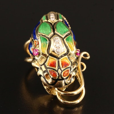 18K Dragon Head Ring with Ruby, Diamond and Guilloché