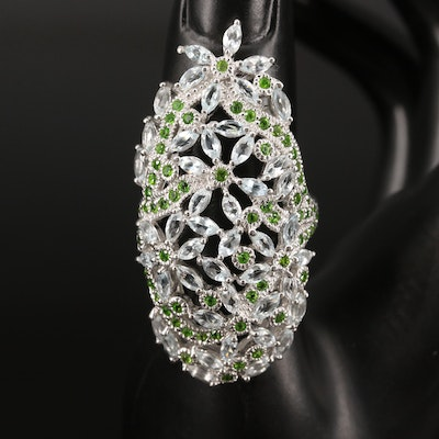 Sterling Silver Aquamarine and Diopside Floral Pointer Ring