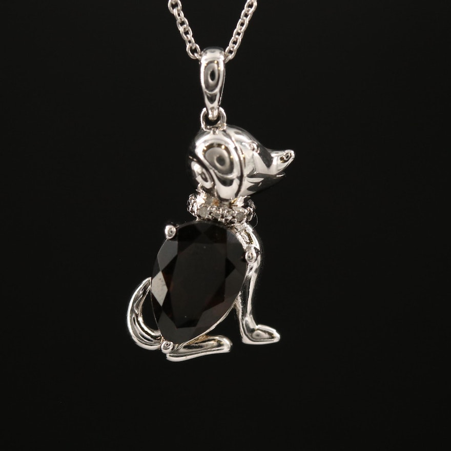 Sterling Silver Smoky Quartz and Diamond Dog Pendant Necklace