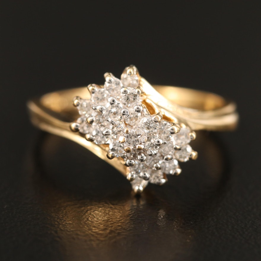 10K Gold Diamond Cluster Bypass Ring