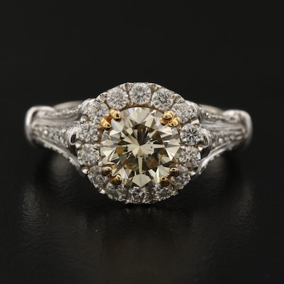 14K 2.45 CTW Diamond Ring with Halo and 1.62 CT Center