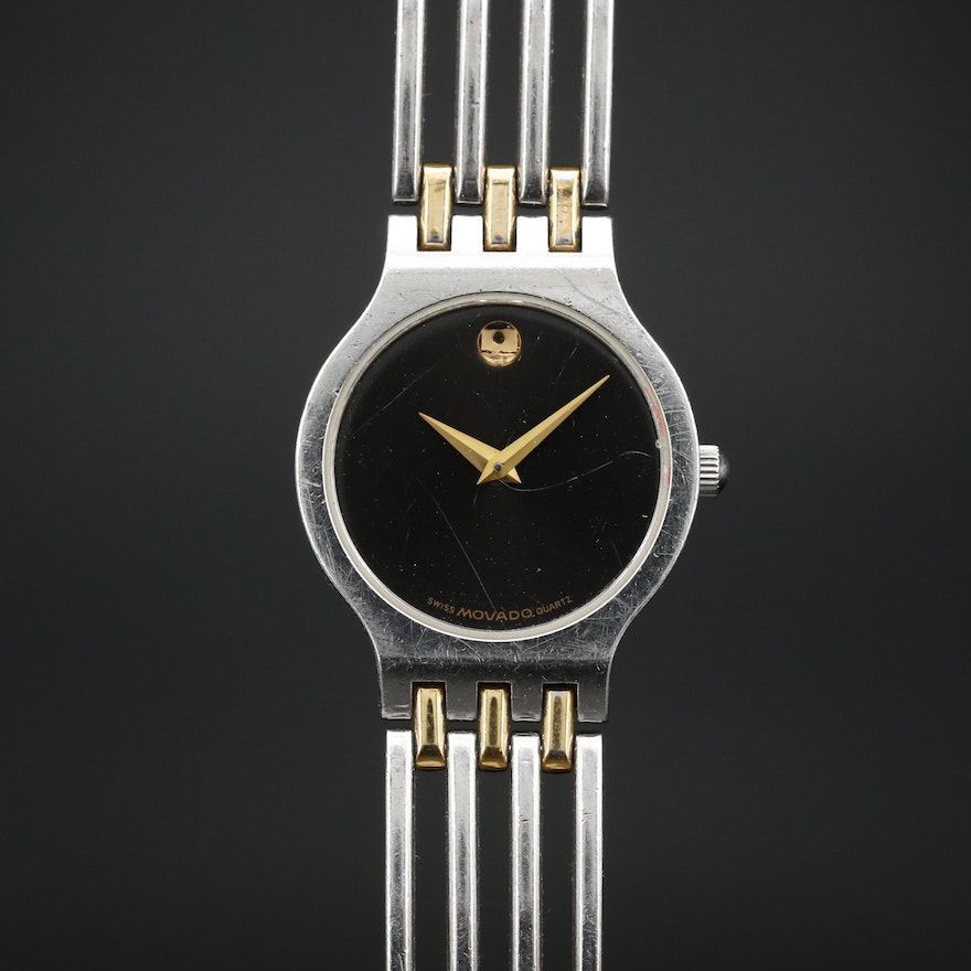 Movado Museum Black Dial Two Tone Quartz Wristwatch