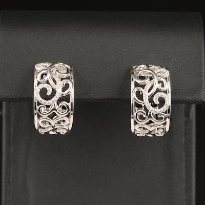 Sterling Silver Diamond Hoop Earrings with Scrollwork Motif