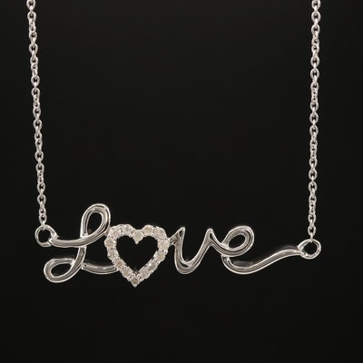 "Sterling Silver Diamond ""Love"" Necklace"