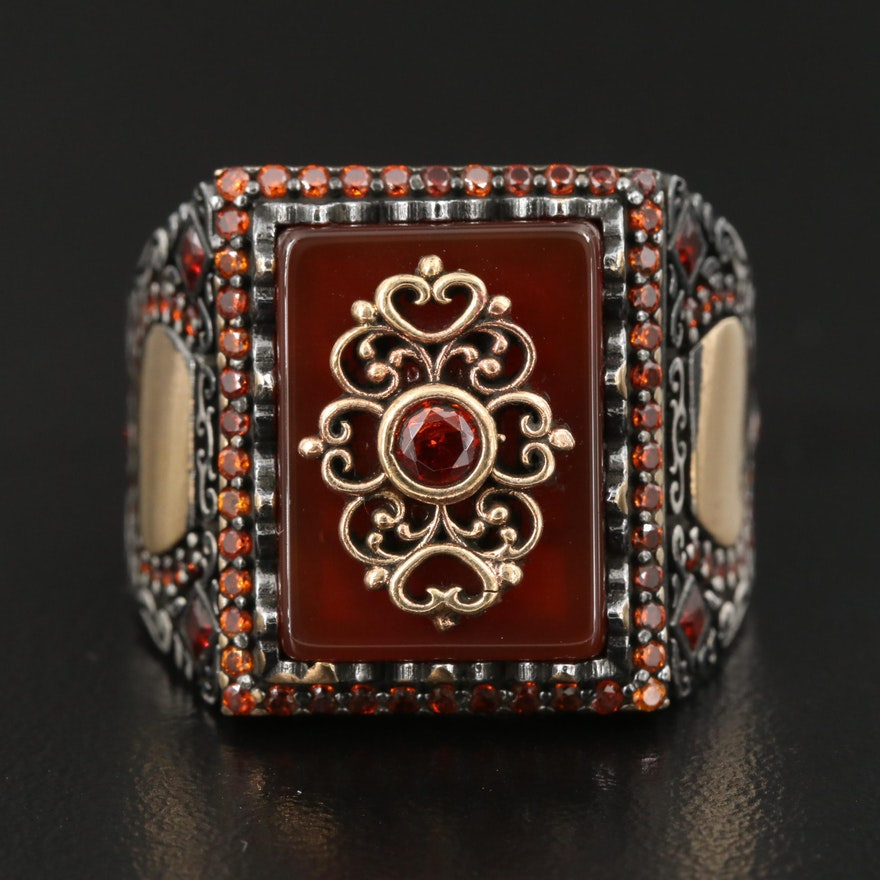 Sterling Silver Carnelian and Cubic Zirconia Scrollwork Ring