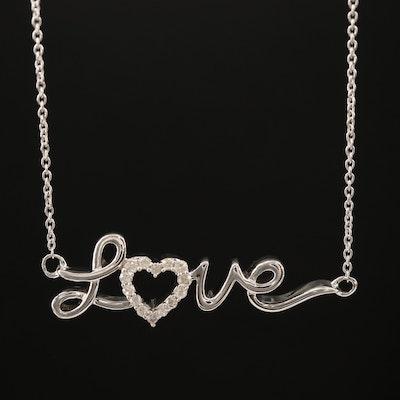 "Sterling Silver Diamond ""Love"" Necklace"