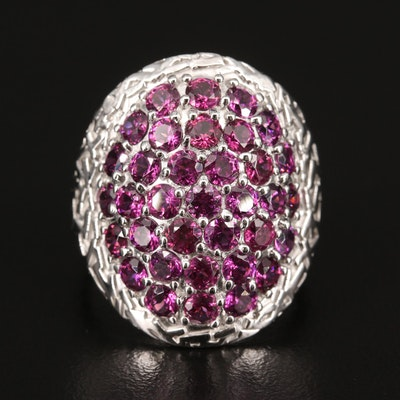 Sterling Silver Rhodolite Garnet Ring with Turtle Shell Design