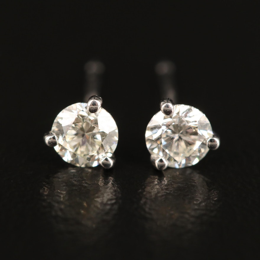 14K Martini Set Diamond Stud Earrings