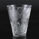 "Lalique ""Ispahan Rose"" Crystal Vase, Mid-20th Century"