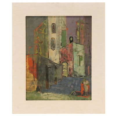 Abstract Mixed Media Painting of Street Scene with Figures