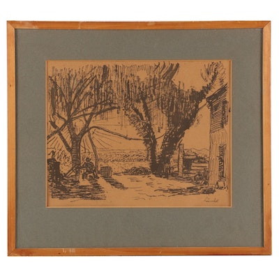 Offset Lithograph Outdoor Scene with Figures