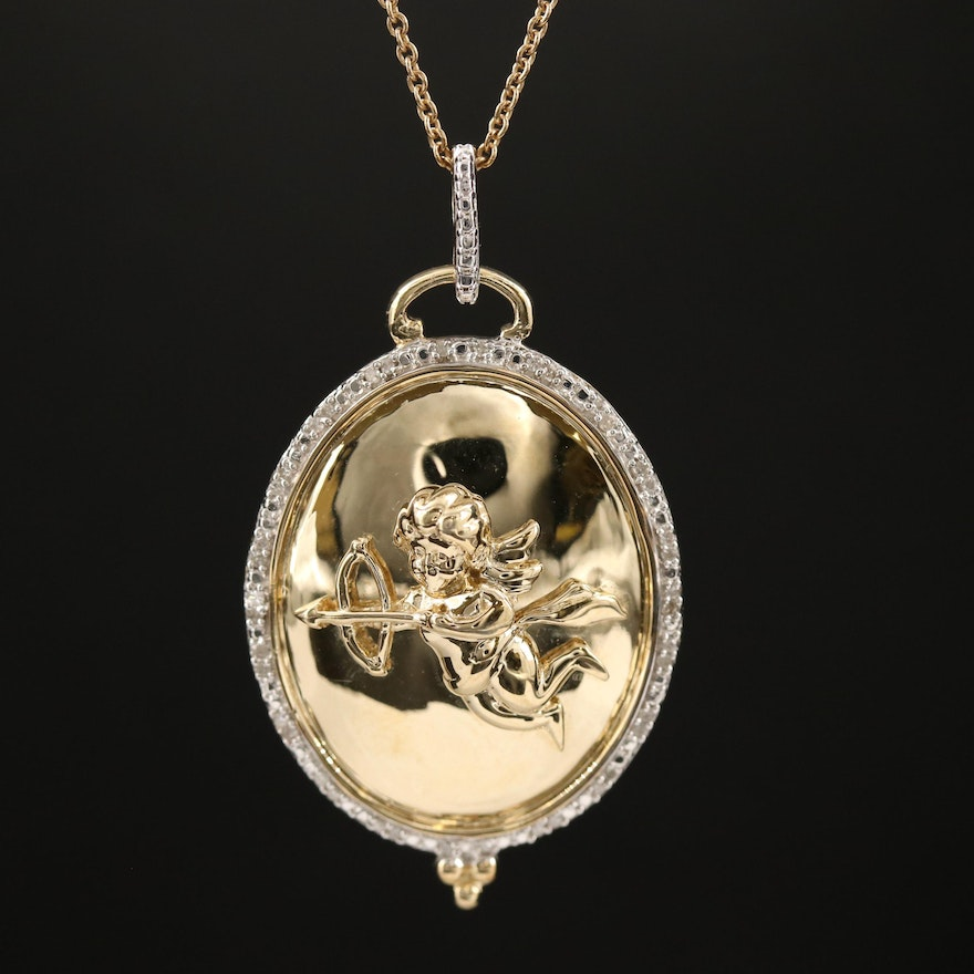 Sterling Silver Cherub Pendant Necklace with Diamond Halo
