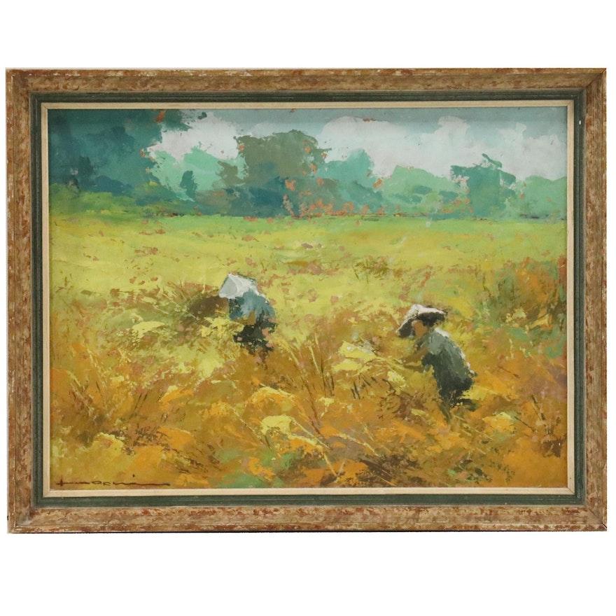 Frits Lucien Ohl Oil Painting of Harvest Scene