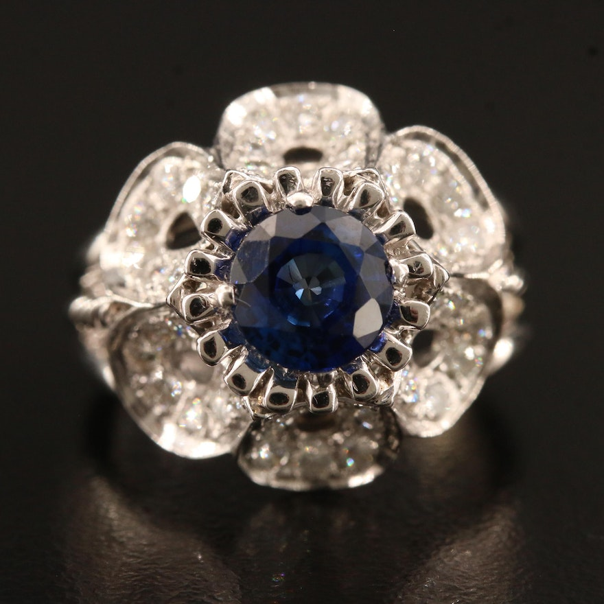 14K Sapphire and 1.55 CTW Diamond Flower Motif Ring